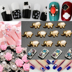 3D Pig Gem Mustache Christmas Alloy Rhinestone Nail Art Stickers