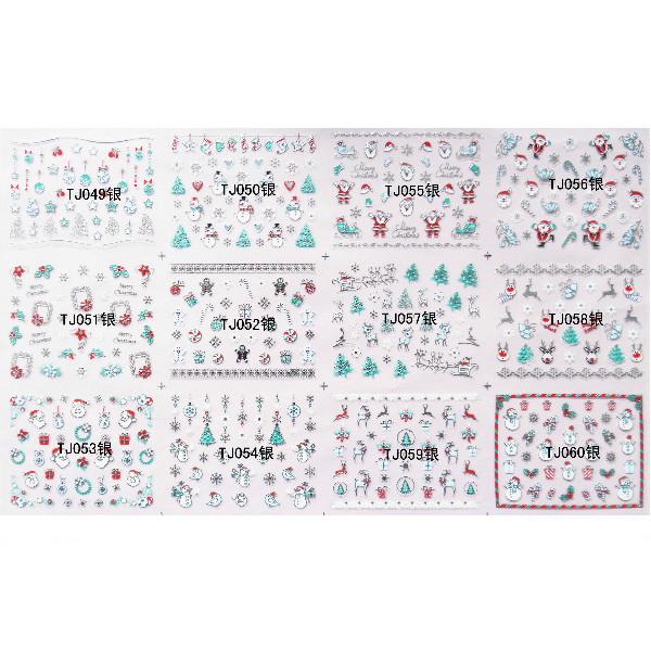 3D Sliver Christmas Style Nail Art Sticker Nail Art