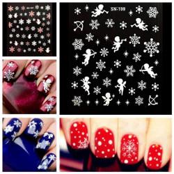 3D Snowflakes Snowmen Nail Art Sticker Decal Decorations
