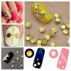3mm Sliver Gold Shell Shape 3D Nail Art Decoration