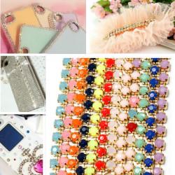 4.5M Nail Art Tips Phone Glitter Metal Chain DIY Decorations Manicure