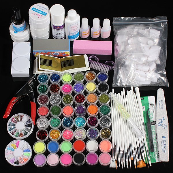 48 Acrylic Glitter Powder UV Primer Builder Cleaner Nail At Kit Set Nail Art