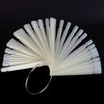 48 Beige False Nail Polish Display Tip Stick Ring Fan Board Stand Nail Art