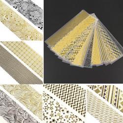 4Pcs 3D Black Gold Multi Design Nail Art Sticker