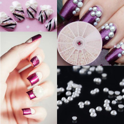 4 Size White Pearl Nail Art Stickers Nail Plate Round Wheel