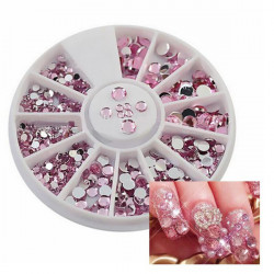 4 Sizes Pink Acrylic Shiny Rhinestone Nail Art Decoration Wheel