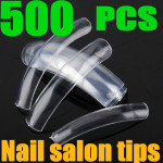 500PCS Transparent Salon False Acrylic 3D Nail Art tips Nail Art