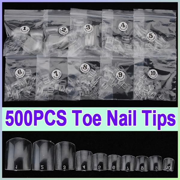 500pcs Clear French False Acrylic UV Gel  3D Nail Art Toe Tips Nail Art