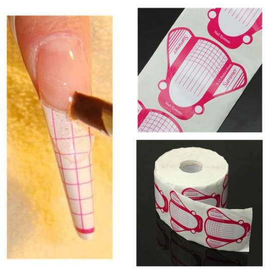 500pcs Roll Gel Acryl Nail Extension Tool Pink White Plane 2021