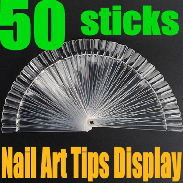 50pcs false 3D nail art Tips stick Display fan board Nail Art