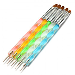 5Pcs 2 Ways Acrylic Nail Art Design Dotting Painting Brush Pen