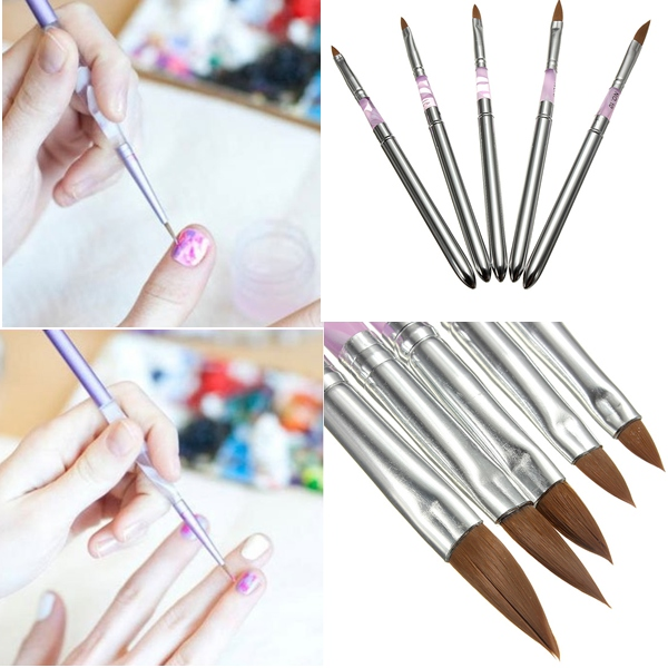 5Pcs Detachable UV Gel Acrylic Nail Art Polish Tool Drawing Pen Brush Nail Art