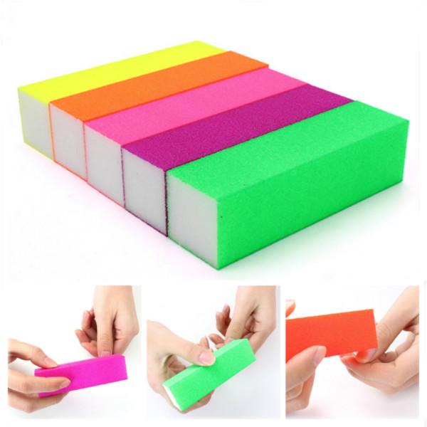 5Pcs Fluorescent Color Buffing Sanding Nail Files Block Manicure Tool Nail Art