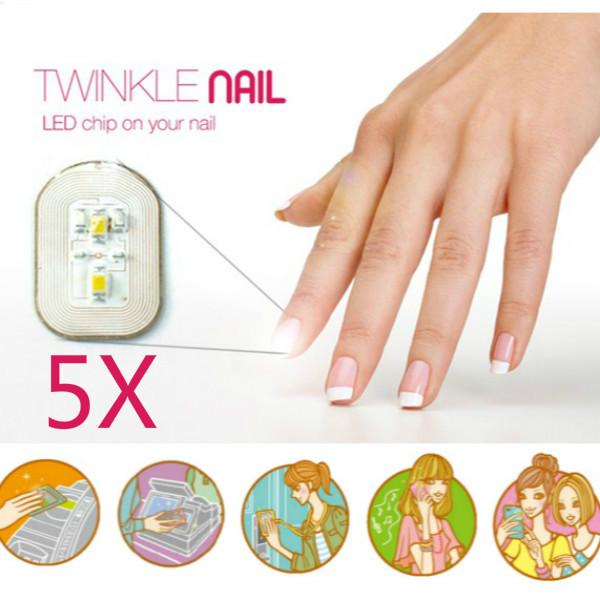 5Pcs NFC Nail Sticker Flash LED Magic Decal Party Club Nail Art