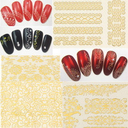 5X Golden DIY Nail Art Lace Flowers Water Transfers Decal Sticker