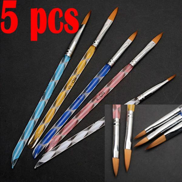 5X NEW 2 Ways Acrylic Nail Art Brush Pen Cuticle Pusher Nail Art
