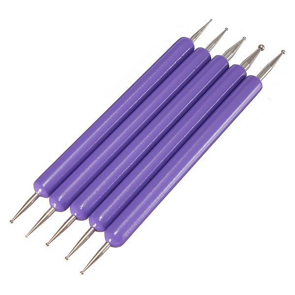 5pcs 2 Ways Nail Art Design Decoration Dot Painting Dotting Pen Nail Art