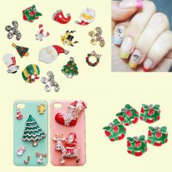 5pcs Christmas Theme 3D Alloy Rhinestone Nail Art Decoration