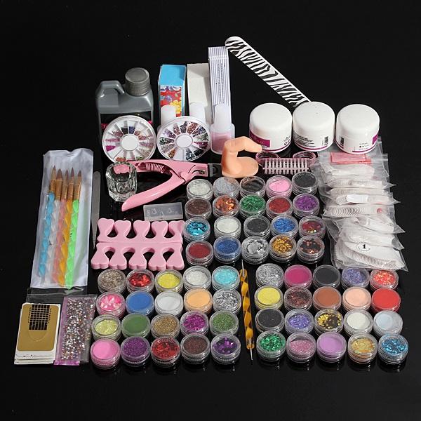 60 Acrylic UV Powder Glitter Glue Nail Art Tool Kit Set Nail Art
