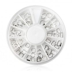 60pcs Mix Styles Glitter Nail Art Silver Metal Tips Decoration Wheel
