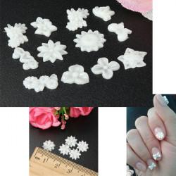 60pcs Wihte Flower Nail Art Stickers Mix 3D Acrylic Nail Art Tips