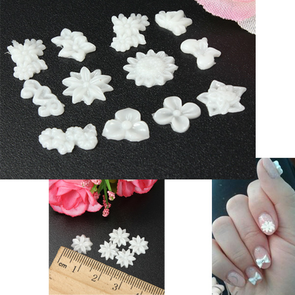 60pcs Wihte Flower Nail Art Stickers Mix 3D Acrylic Nail Art Tips Nail Art