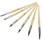 6 PCS Wooden Handle Acrylic Nail Art Kit Brushes Set Nail Art