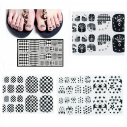 6 Style Foot Toe Sticker Nail Art Decal Decoration