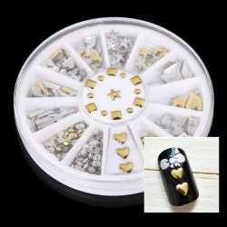 6 Styles Gold Metal Punk Style Nail Art Decoration Wheel