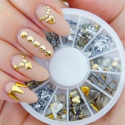 6 Styles Mix Shape Gold Silver Alloy Stud Nail Art Decoration Wheel