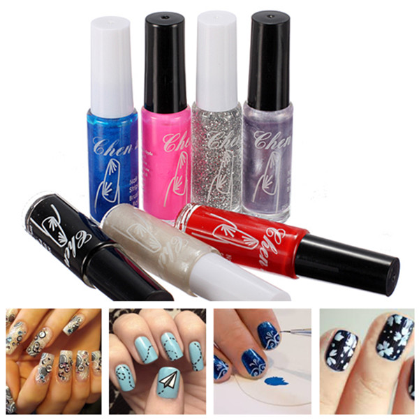 7pcs Brush on Nail Art Varnish Polish Pen Paint Brush Set Nail Art