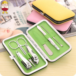 7pcs Stainless Steel Manicure Pedicure Ear Pick Nail Clipper File Set