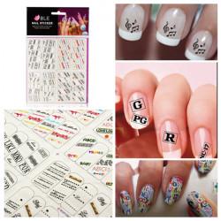 Alphabet Flower Nail Art Tips Tattoos Water Transfer Decals Sticker