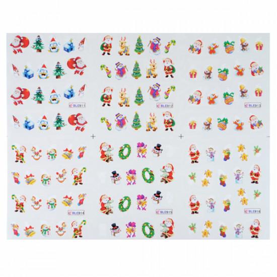 BLE Christmas Snowman Santa Nail Art Water Transfer Decal Sticker 2021