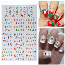 BLE Christmas Snowman Santa Nail Art Water Transfer Decal Sticker