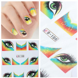BLE Eye French Nail Art Tips Water Transfer Decals Sticker