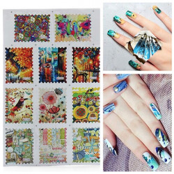 BLE Postage Stamp French Nail Art Tips Water Transfer Decals Sticker