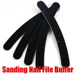 Black Nail Art Buffer Files Crescent Sandpaper Grit