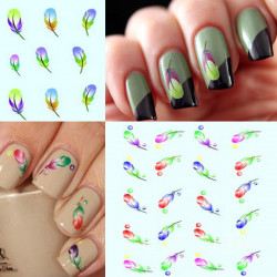 Bright Colors Peacock Feather Nail Art Stickers Water Transfer Decals