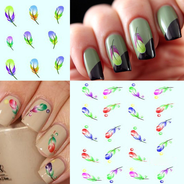 Bright Colors Peacock Feather Nail Art Stickers Water Transfer Decals Nail Art