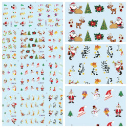 Christmas Santa Snowman Nail Art Sticker Water Transfer Decals