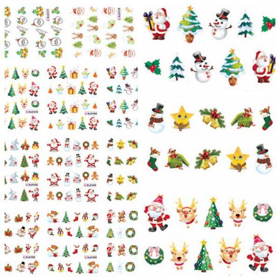 Christmas Santa Snowman Tree Nail Art Sticker Water Transfer Decals 2021