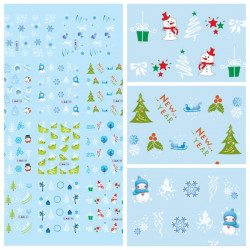 Christmas Snowman Snowflake Nail Art Sticker Water Transfer Decals