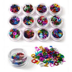 Colorful Alphabet Number Sequins Nail Art Decoration