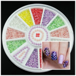 Colorful Semi-circle Bead Acrylic Nail Art Decoration Wheel Nail Art