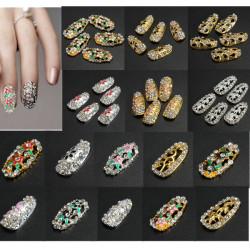 Crystal Rhinestones Flower 3D Hollow Nail Art Tips DIY Decorations