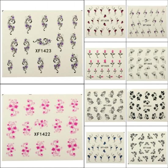 Flower Rose Butterfly Pattern Water Transfer Nail Art Sticker Decal 2021