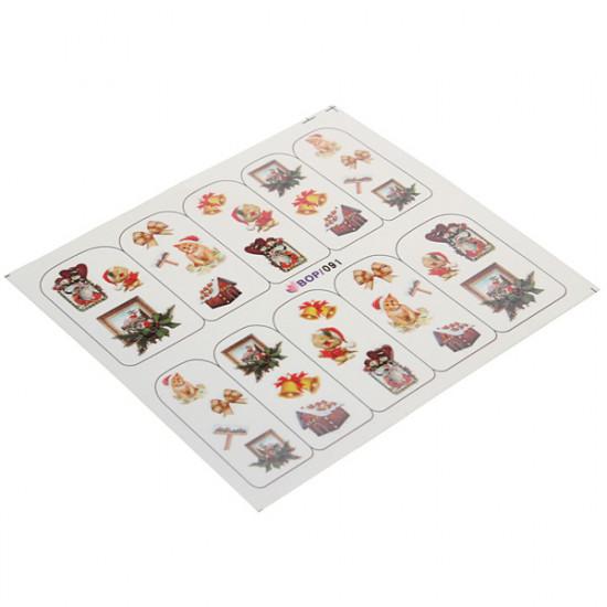 Full Wraps Christmas Santa Snowflake Nail Art Sticker Decal