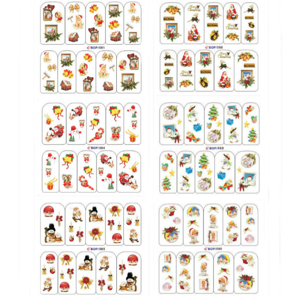 Full Wraps Christmas Santa Snowflake Nail Art Sticker Decal Nail Art
