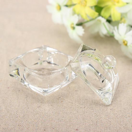 Glass Crystal Cup Acrylic Nail Art Liquid Powder Container Dish 2021